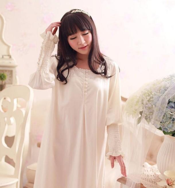 Wholesale- 100% Cotton Princess Nightdress Women s Long Royal Nightgown  White Sleepwear Ladies Pijama Feminino Cotton Pencil Dress Cotton Short  Dress Cotton ... a8d19ac27