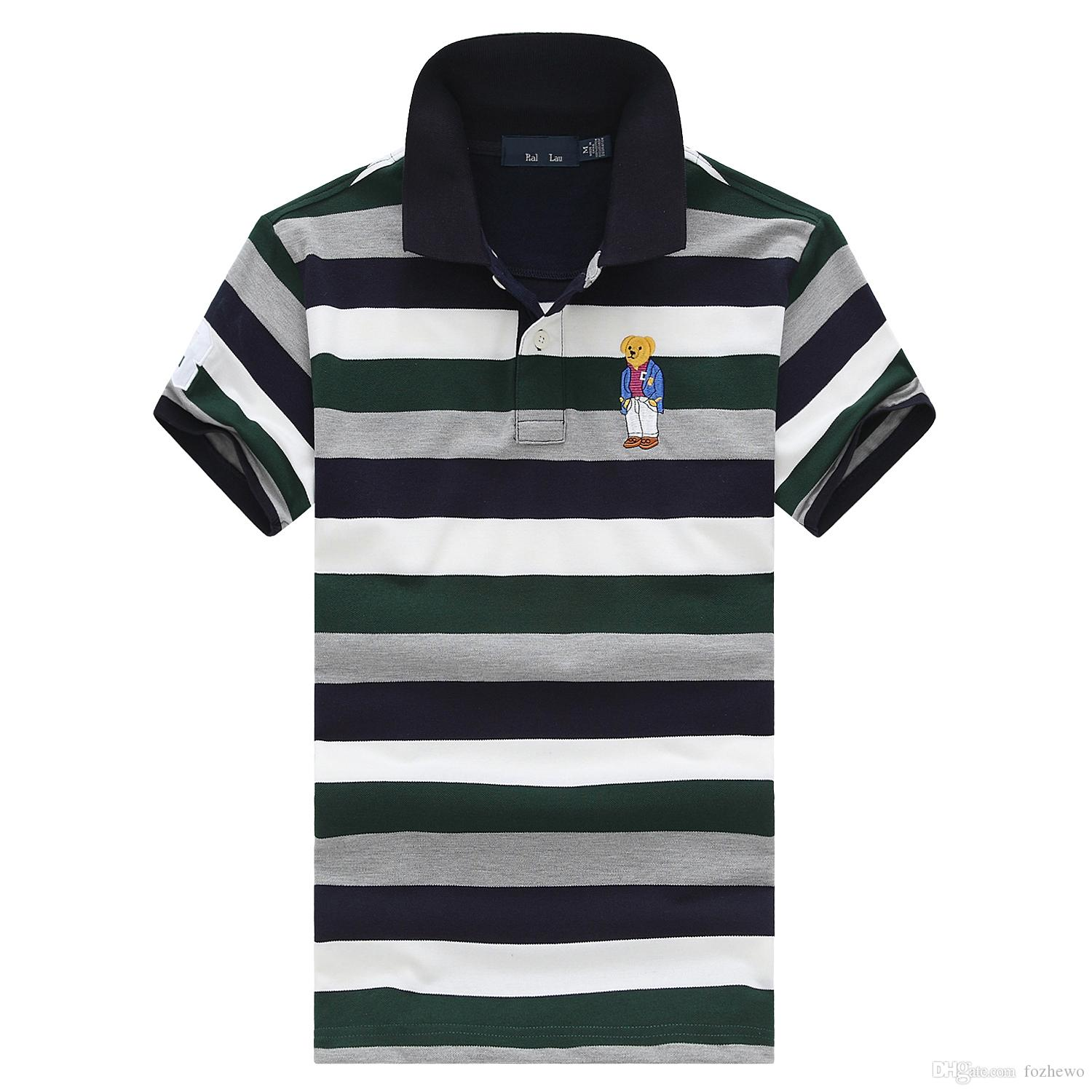 2019 Men Striped Polo Shirt Personalized With Polo Bear Embroidery