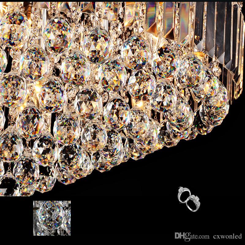 قاد سقف كريستال ضوء جولة E14 الثريا تركيب مصباح K9 كريستال فضة كروم سقف ضوء قلادة لغرفة المعيشة