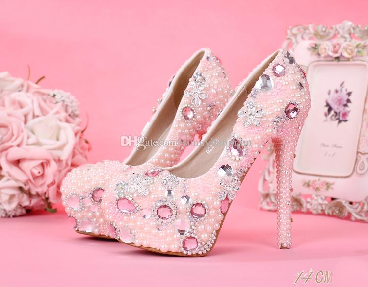 Pink Rhinestones Cinderella Shoes Beaded Pearls Bridal Bridesmaid Wedding Shoes 2017 Prom Evening Night Club Party Super High Heels