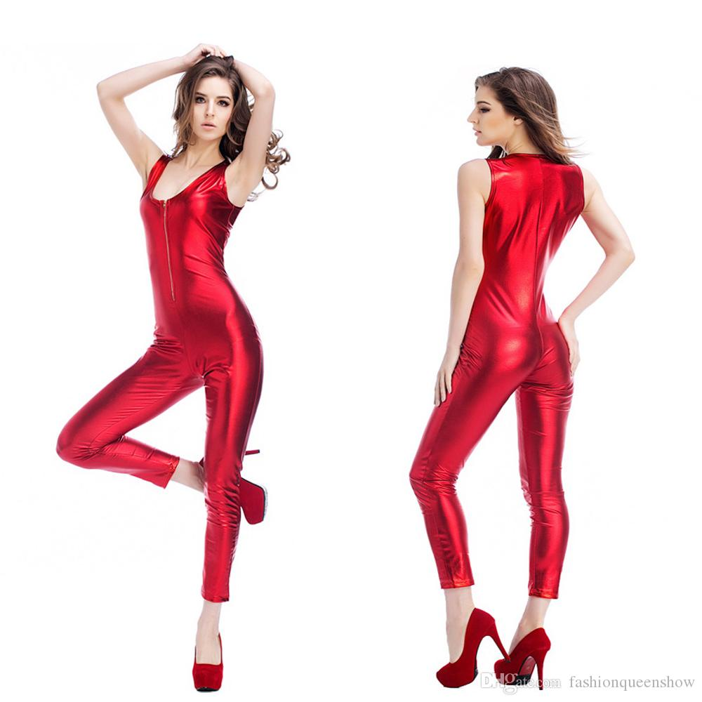 3add0c2328 2019 Women Sexy Red Shiny Metallic Jumpsuit Sleeveless Low Cut Catsuit  Wetlook Zipper Slim Leotard Party Clubwear Bodysuit From Fashionqueenshow