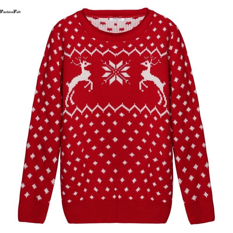 Wholesale-Runway Christmas Sweater With Deer Print Long Sleeve ...