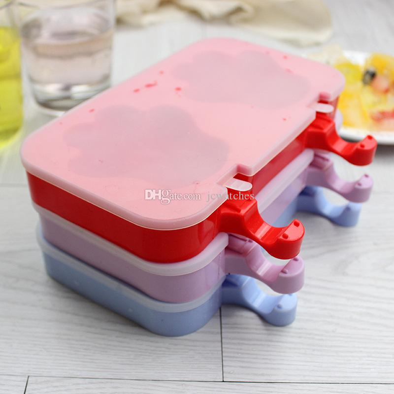 10 Style Home Made DIY Silicone Ice Cream Mold Frozen Ice Popsicles Mould DIY Cartoon Ice Cream Maker Red