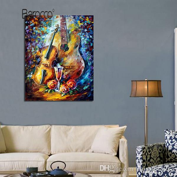 Retro Style Hand Painted Still Life Oil Painting on Canvas Abstract Violin Painting Modern Home Wall Art Decora Gift