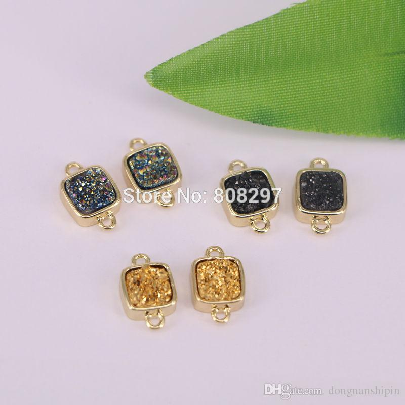 Wholesale Square Shape Mixed Color Druzy Crystal Geode Pendants Gold Color Titanium Connector Bead with Double Bails