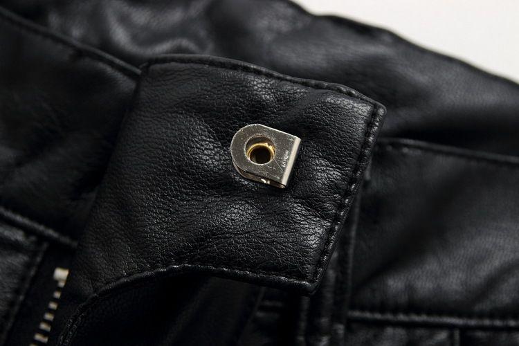 Vente en gros- 2017balm Nouveaux Mode Hommes Enduit Brillant Stretch Slim Noir Biker Lavé En Cuir Pantalon Pantalon Taille 28-38 Slim fit noir maigre jea
