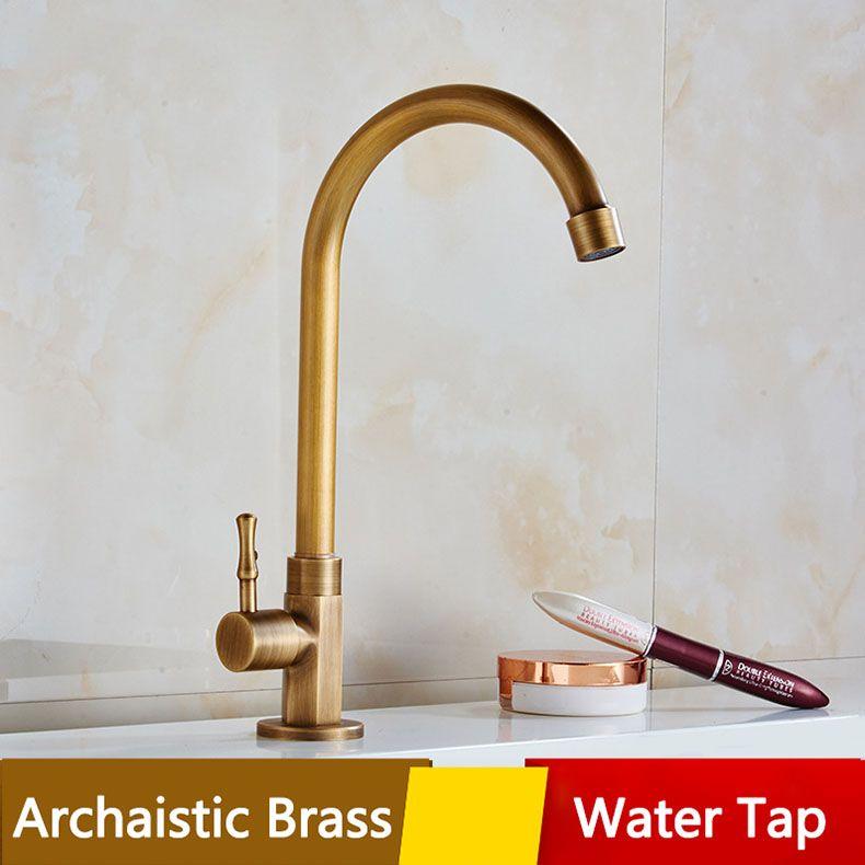 2018 Archaistic Brass Kitchen Water Tap Deck Mounted Exquisite ...