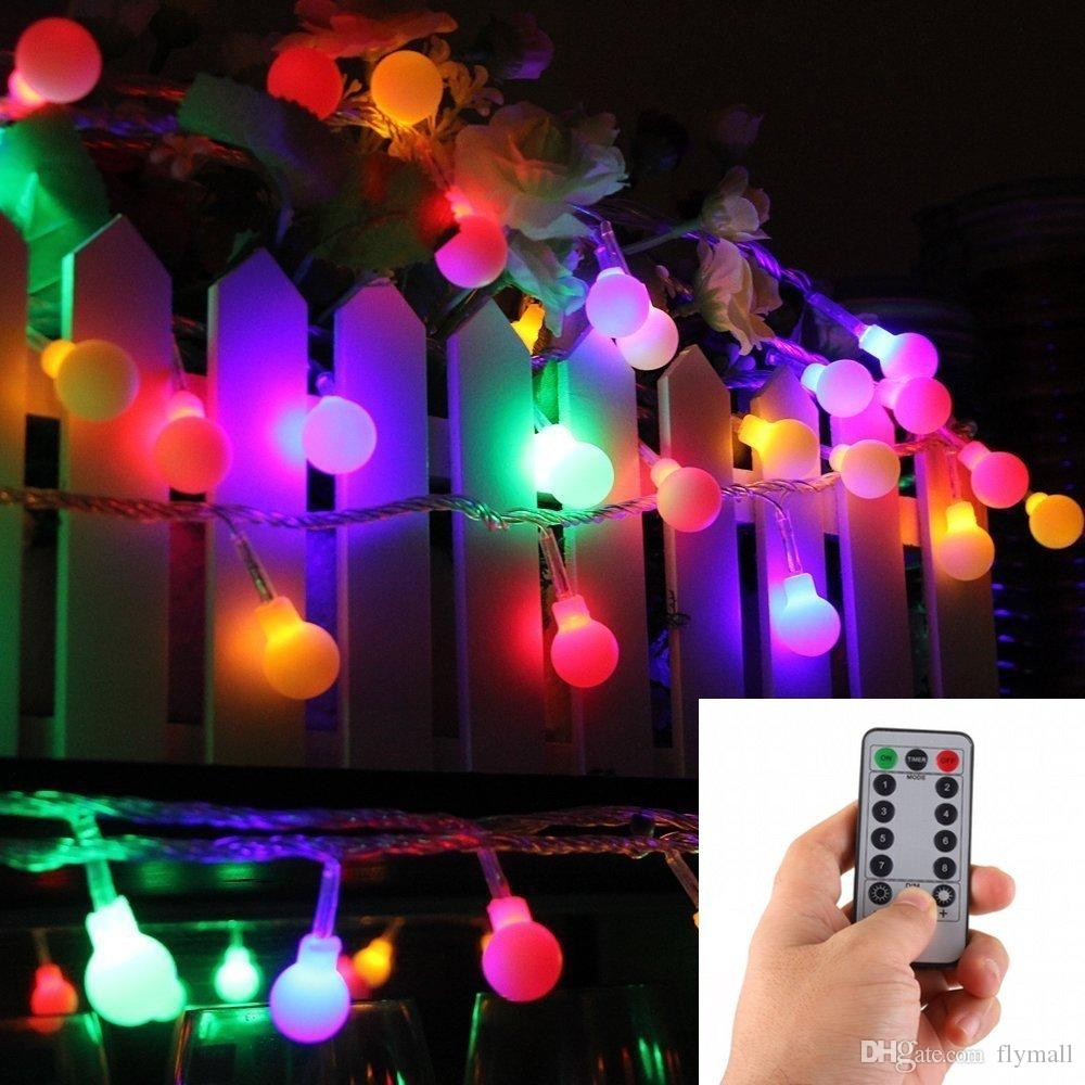 16 Feet 50 LED Outdoor Globe String Lights 8 Modes Battery Operated Frosted White Ball Fairy Light Dimmable Ip65 Waterproof