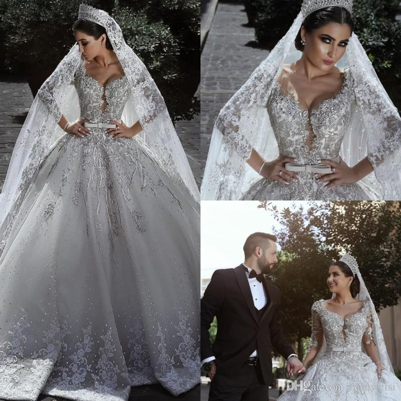 Luxury Saudi Arabic Middle East Wedding Dresses Crystal Long Sleeve ...