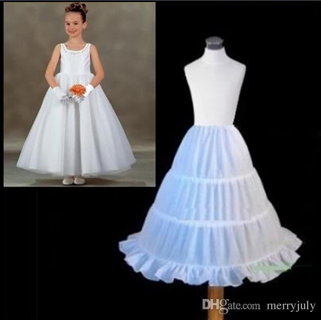 2017 Hot Sale Three Circle Hoop White Girls' Petticoats Ball Gown Children Kid Dress Slip Flower Girl Skirt Petticoat