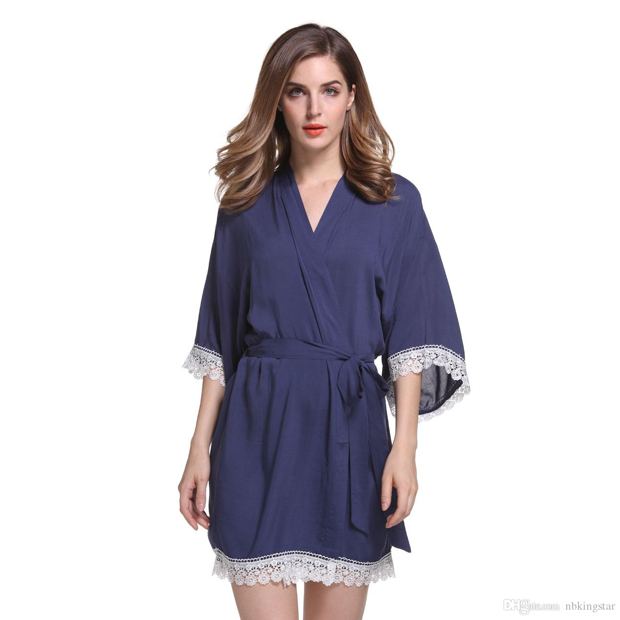 ccbc93a77d 2019 New Solid Cotton Kimono Robes With Lace Trim Women Wedding Bridal Robe  Short Belt Bathrobe Sleepwear From Nbkingstar
