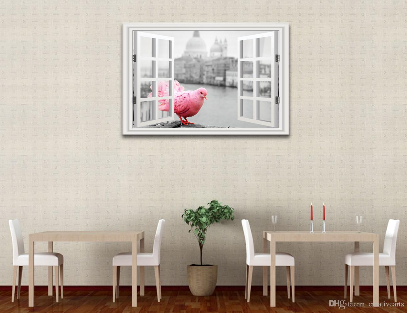 Black and White 3D Window Landscape Canvas Art Printing Red Pigeon Outside Window Canvas Wall Decor Unframed60cmx90cmx