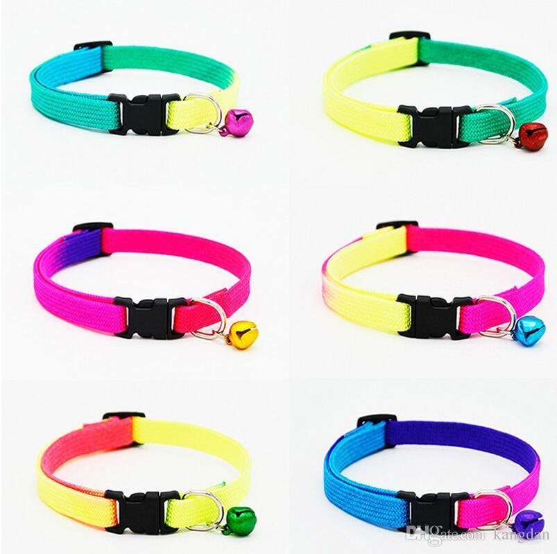 Arco-íris pet dog cat bell collar ajustável coleiras de nylon para cães pequenos cat filhotes de cachorro coleiras de animais de estimação