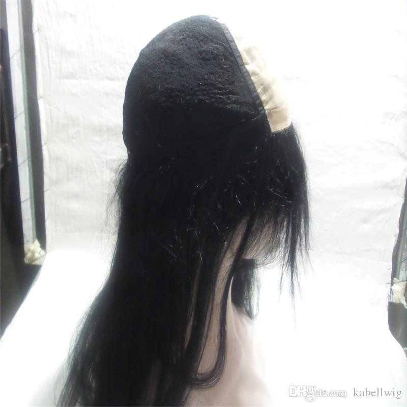 Full Lace Human Hair Wigs Density 150% European Virgin Hair Baby All Senior Silk Knitting Wig Simulation Scalp Hair Black Straight #1 KABELL