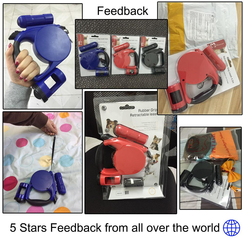 Newly Pet Dog Retractable Leash LED Light & Clean-up Bag For Small Medium Dog Collar Products Harness Strong Chain 5M