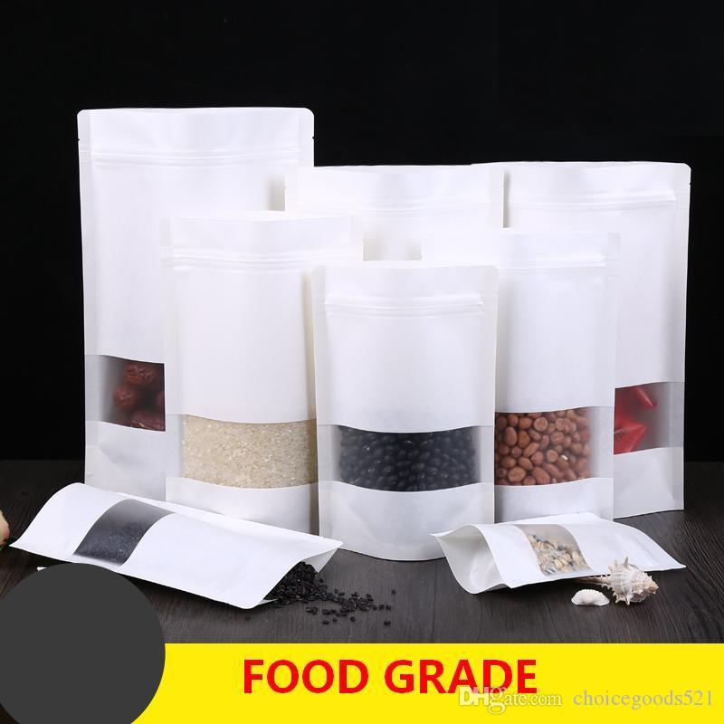 White Kraft paper bags Stand up Pouch With window Kraft small retail bag Food grade Moisture proof For Snack Cookie Beans Candy etc.