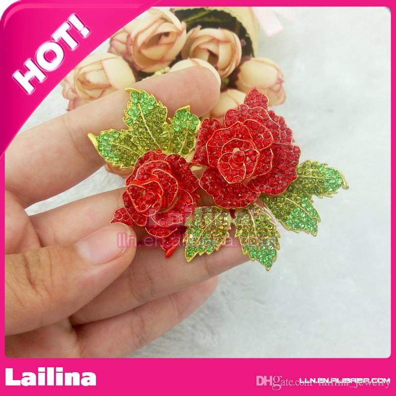 Mother's Gift red double rose flower Gold-Tone Pink Crystal Rhinestone Brooch,Green leaf with rose brooch