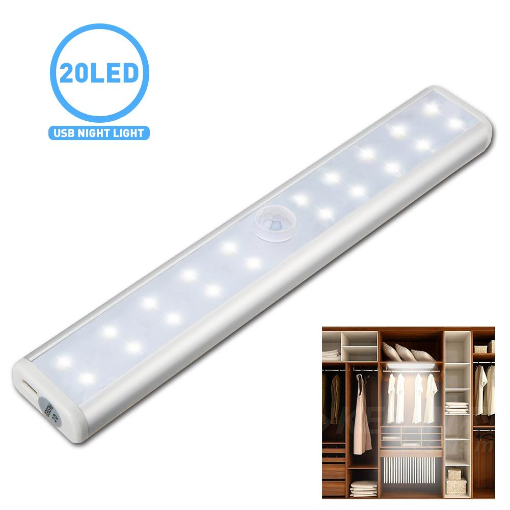 Lumiparty USB Rechargeable LED Motion Sensor Night Light for Closet 20 LED Cabinet Night Lighting Wireless Motion Activated Lamp