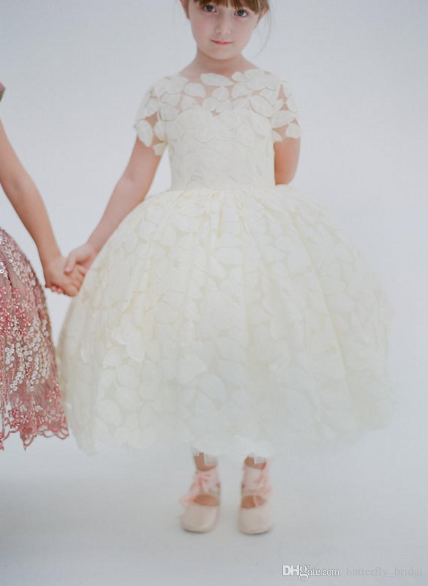 Großhandel Jewel Ballkleid Mode Einfache Anke Länge Spitze Kleinkind ...