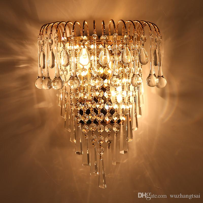 2019 Classic Crystal Chandelier Wall Light Gold Crystalline Wall