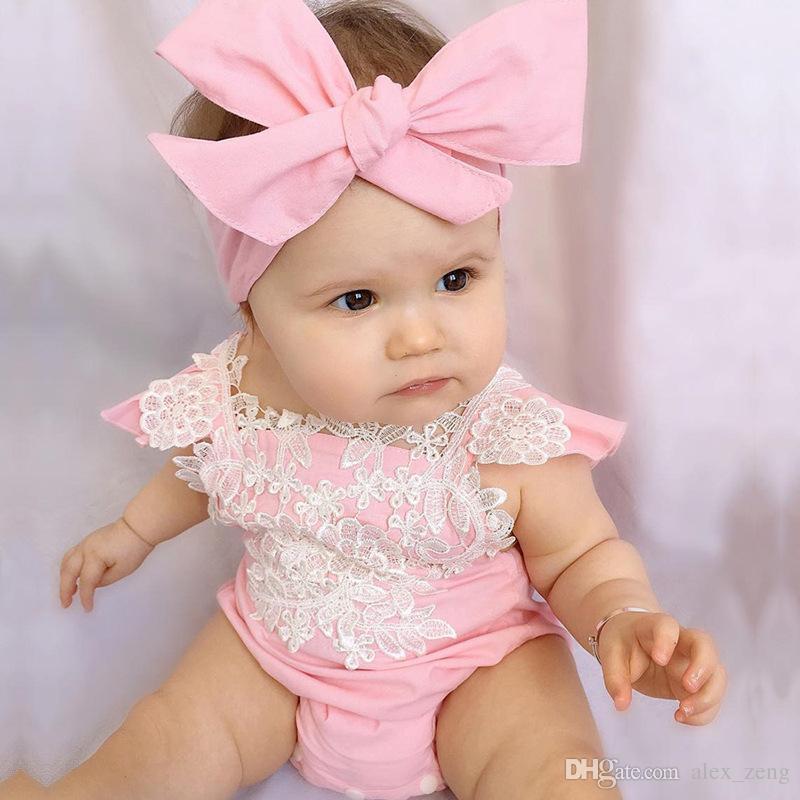 6 Styles Neonati Baby Girl Floral Pagliaccetti Body con fasce volant 2 Sleeve Set bottoni 2017 Summer INS Pettorina adatta 0-2 anni