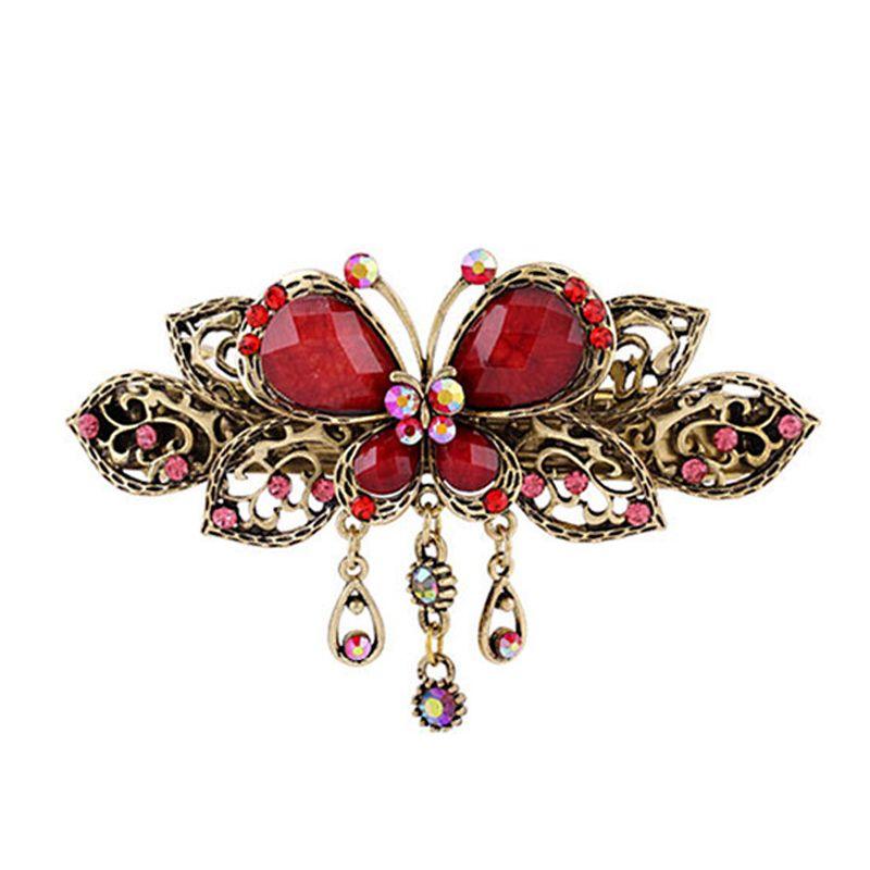 Antique Bronze Barrettes Gemstone Butterfly Hair Jewelry Rhinestone Bowknot Hair Clips Lady Top Hairpins Women Headwear Tiaras Wholesale