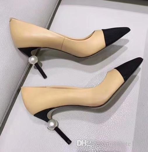 99711924b34 Designer Women Goatskin Grosgrain Pumps Leather Pearl High Heels OL Dress  Shoes Lady Beige White Black Single Shoes Original Box Cheap Shoes Dansko  Shoes ...