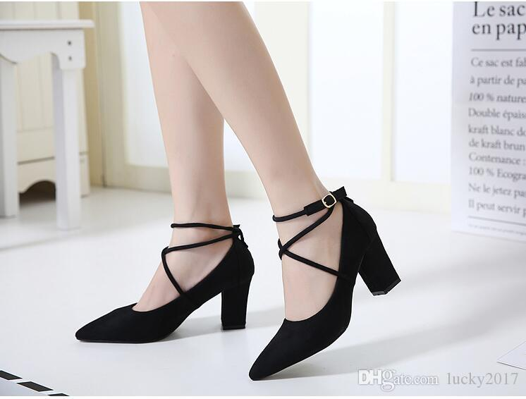 Summer Hot Sales Women Sandals Red Black Brown Ladies Sexy Pointed Toe High Heel Shoes Cross Tied Sandals Female