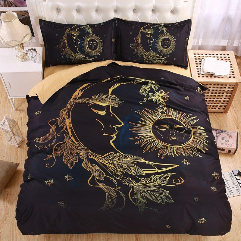 Fabulous Wholesale Lightweight Boho Sun Moon And Stars 3d Bedding Set Duvet  YD63