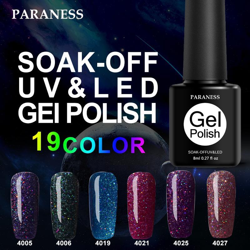 Paraness 3D Lucky Shiny Neon Rainbow Nails UV Gel Nail Polish Long ...
