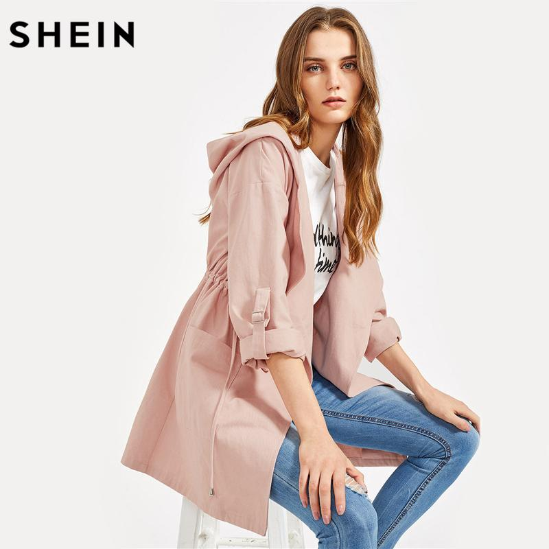 5385744c11ae Wholesale- SHEIN Drawstring Waist Roll-Up Sleeve Hooded Coat Fall ...