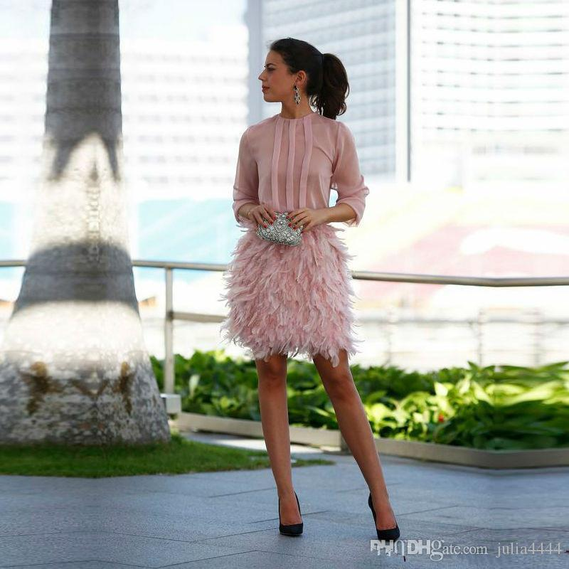vintage blush Feather Short Prom Dresses 2019 Pink Long Sleeves Open Back With Bow dubai arabic Evening Gowns Cocktail Party Dresses