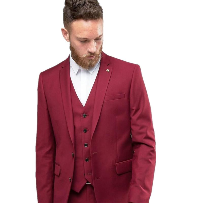Wholesale- Handsome Burgundy Bridegroom Tuxedos Wedding Prom Suits ...