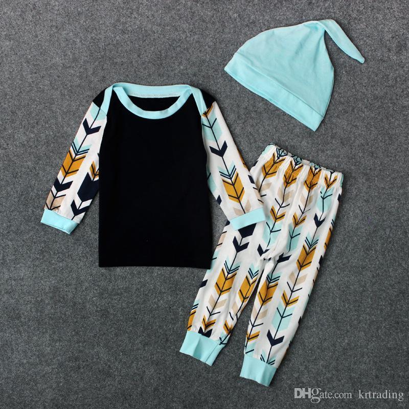 الرضع طفل السهام طباعة تتسابق 3 قطعة مجموعة الذيل قبعة + طويلة الأكمام تي شيرت + السهم الطباعة السراويل اعتصامات الساخنة الطفل الملابس ل 0-2 طن