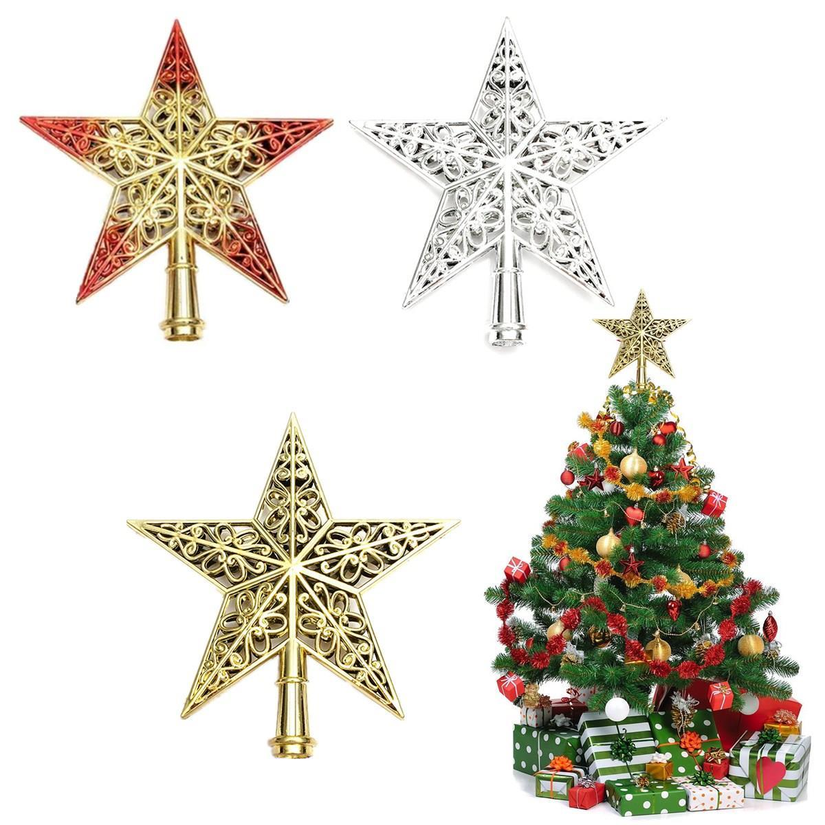 wholesale lovely shiny xmas decorative christmas star tree topper table top ornament xmas tree top decoration star topper for new year decoration christmas - Christmas Tree Top Decorations