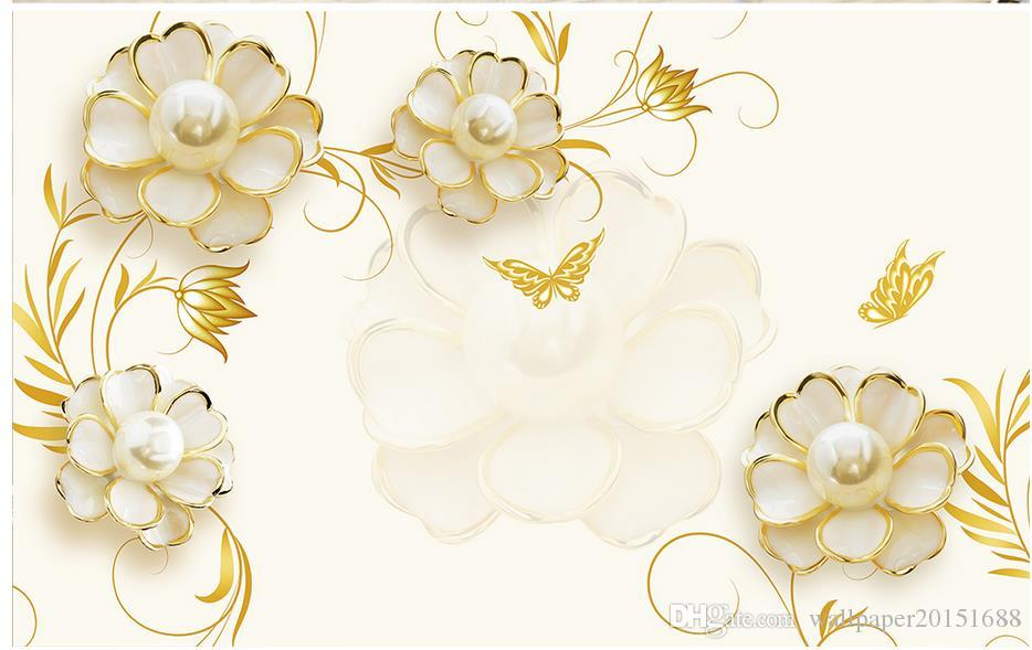 Golden Camellia Pearl Simple TV background mural 3d wallpaper 3d wall papers for tv backdrop