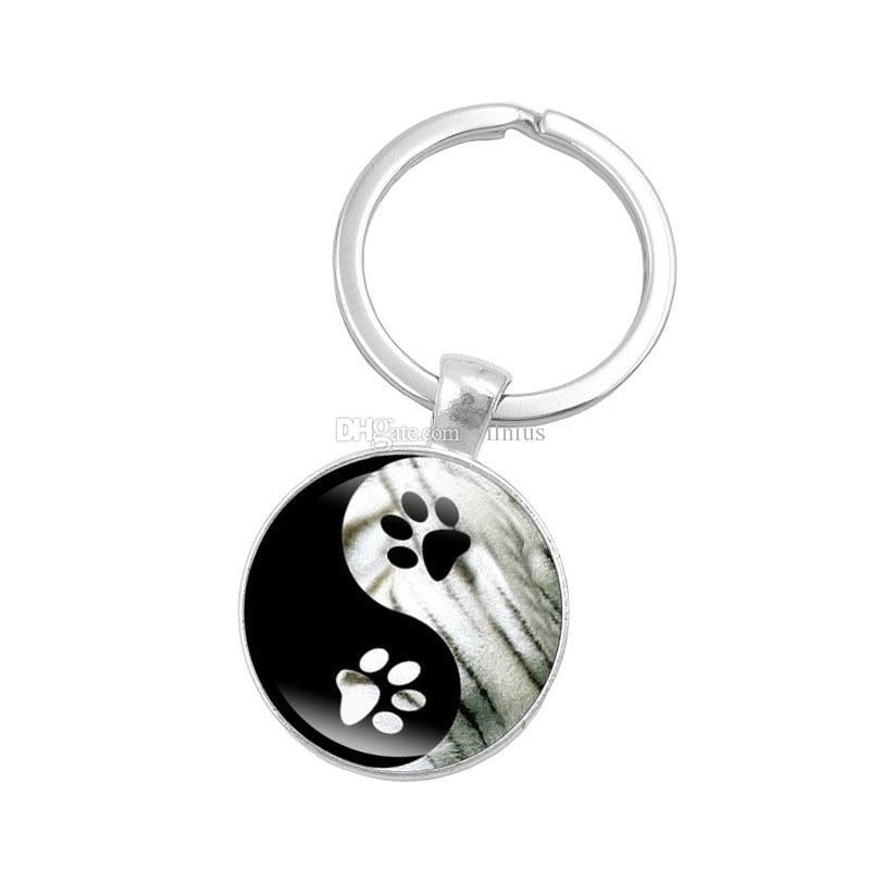 Hot! 10pcs Yin Yang Tai Chi Key Chain Animal Footprints Jewelry Handmade Art Glass Pendant KeyChain Silver Key Ring for Women Gifts