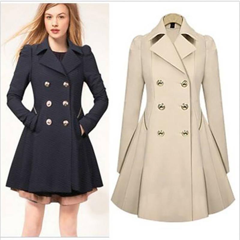 the best attitude 33974 95786 Damen Zweireiher Trenchcoat Slim Real Trench Lange Jacke Mantel Outwear  Schwarz Navy Beige