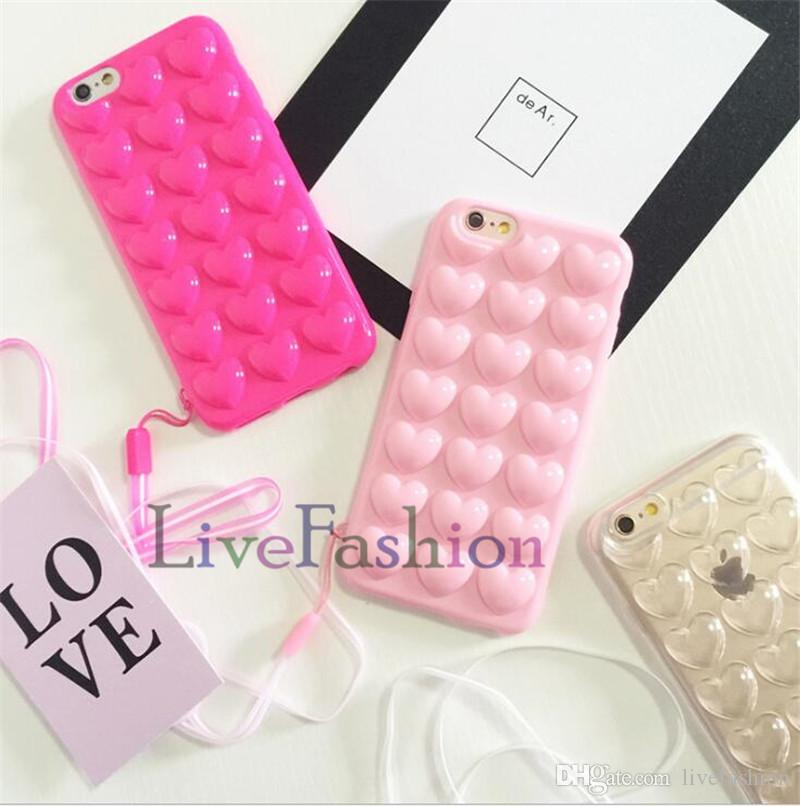 For iphone X 8 Hot Stylish 3D 3D Peach Loving Heart Shapes Candy Color Soft TPU Skin Cover Shell With String For iPhone 7 plus 6s