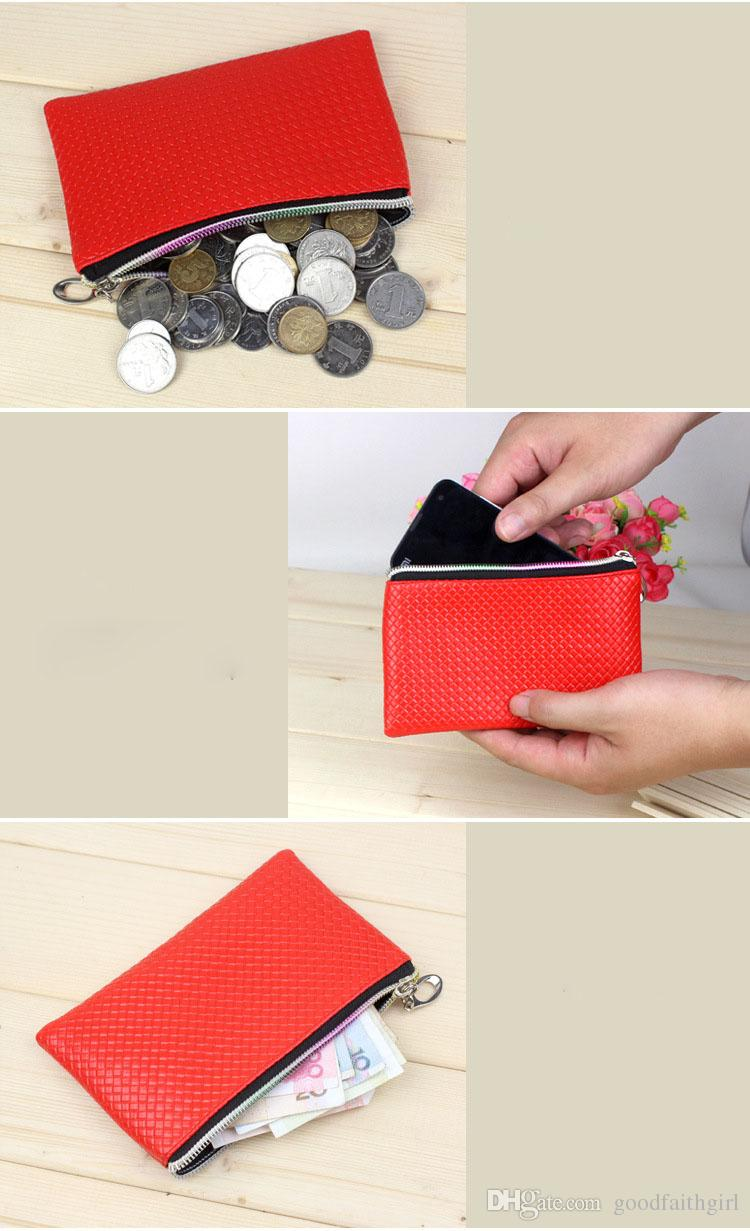 New Fashion Pu Leather Coin Purse Women Wallet Daily Storage Change Purse Plaid Clutch Drop shipping Ladies Handbag Free shippng