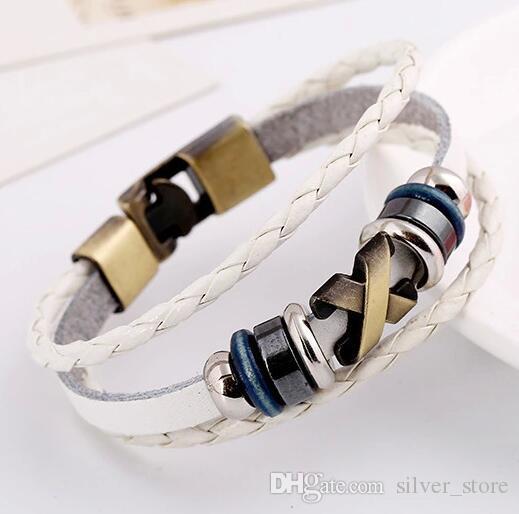 Good A++ Punk jewelry cowhide bracelet retro leather necklace FB058 a Charm Bracelets
