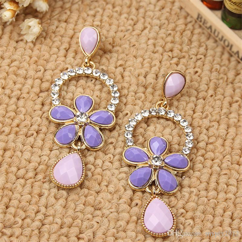 New Trendy Long Flower Type Drop Earrings For Women Colorful Resin Crystal Tassels Dangle Jewelry Earring Bohemian mixed