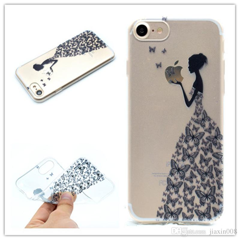 Transparent TPU Cover For iPhone 6 6S Case Fashion Tower bike Butterfly Girl Feather Design Mobile Phone Cases