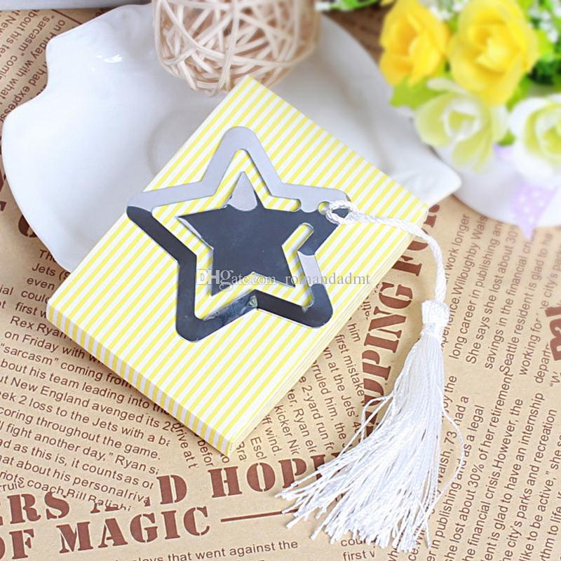 Hollowed Star Bookmark With White Tassel For Baby Shower Christening Wedding Favor Home Party Favor Gift Box DHL
