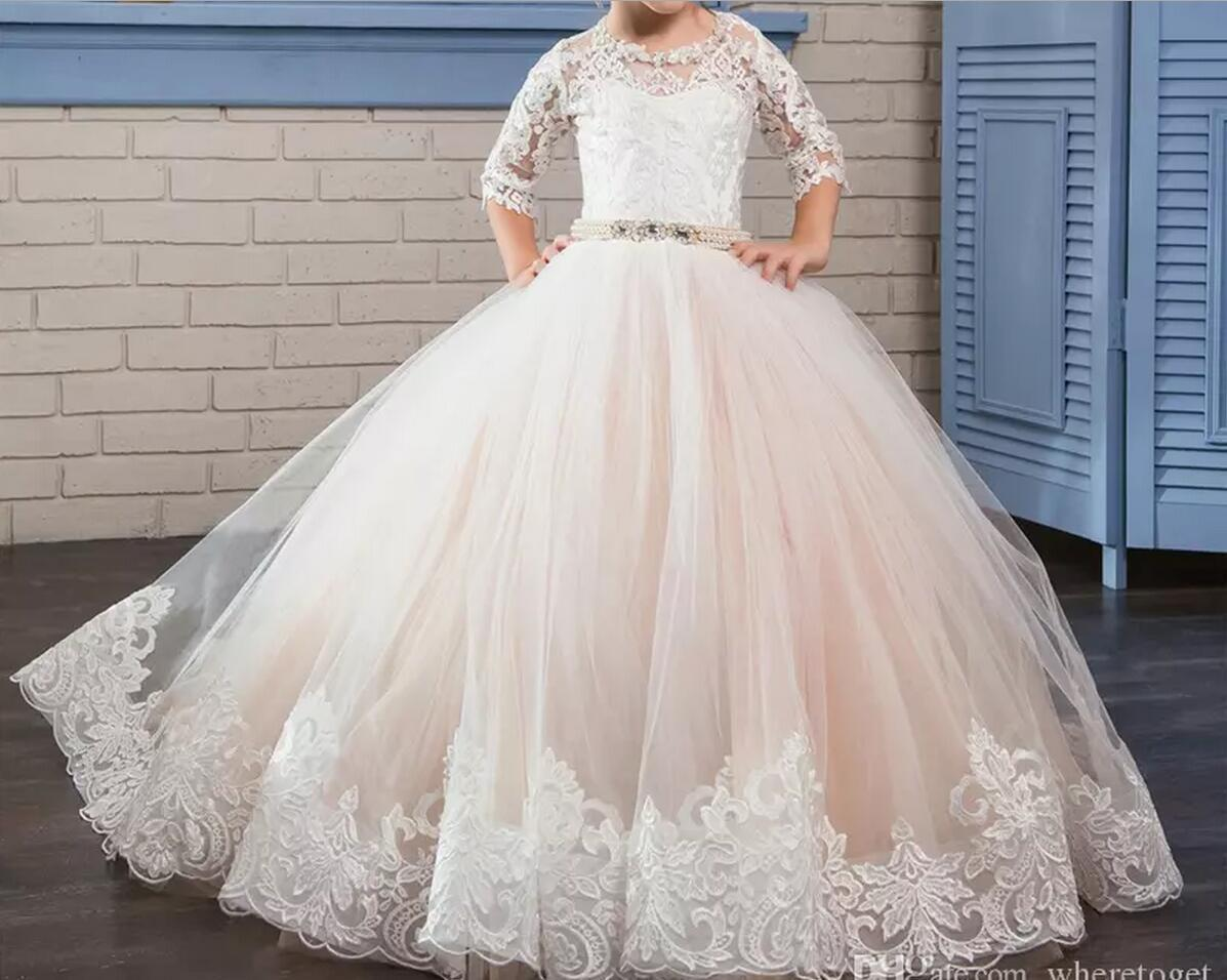 f29dc00a3 2018 Puffy Kids Prom Graduation Holy Communion Dresses Half Sleeves Long  Pageant Ball Gown Dresses For Little Girls Custom Made Organza Flower Girl  Dresses ...