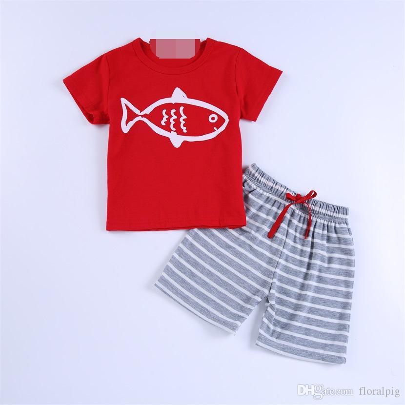 Повседневная одежда для мальчика с коротким рукавом Anchor Sail Print футболка + полосатые штаны 2шт костюм новорожденного летнего комплекта одежды