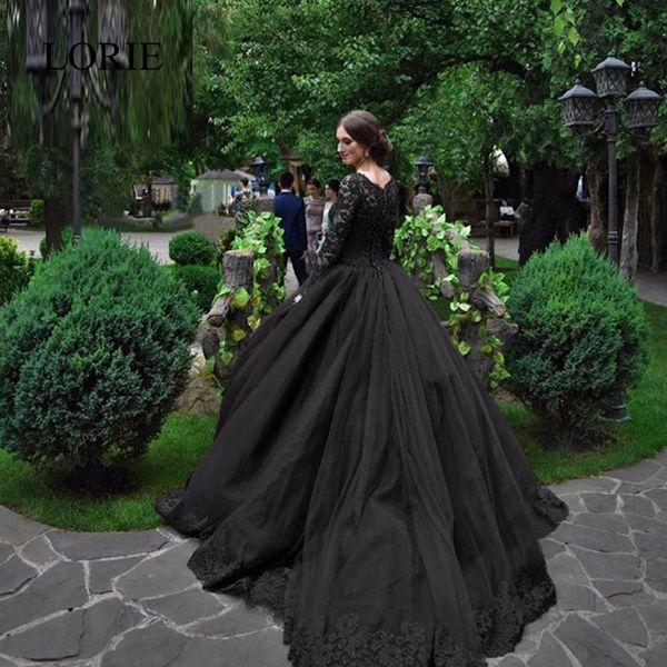 Vintage Black Wedding Dresses: Vintage Black Gothic Wedding Dresses 2017 Long Sleeves