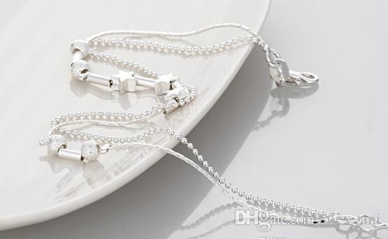 Сексуальная звезда лодыжки браслеты пляж ювелирные изделия 2017 новый 925 стерлингового серебра двойные слои ножные браслеты ювелирные изделия для женщин загрузки ноги ювелирные изделия горячие продажа