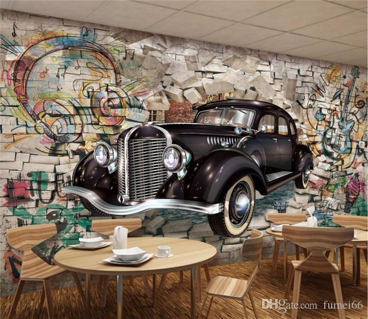 Custom Photo Wallpaper Mural Retro Vintage Car Walking