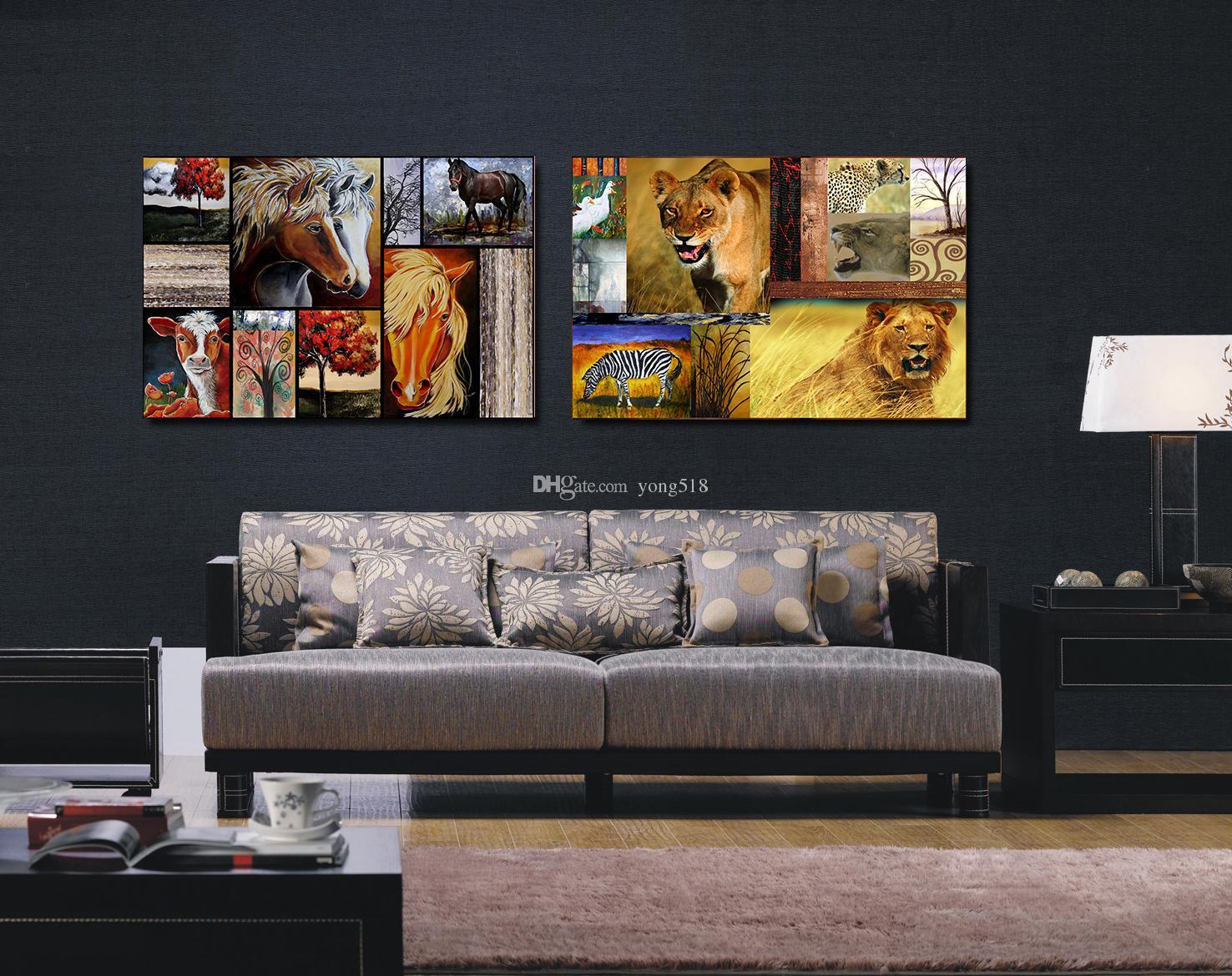 Аннотация современный домашний декор стены искусства холст смесь животных картина печати живопись холст без рамы Фото лошадь корова Лев зебра